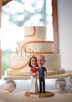 Custom Funny Baseball Fan Couple Wedding Cake Topper