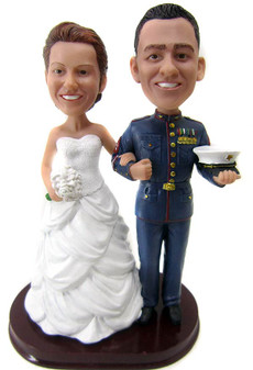Customized Marine Officer Wedding Cake Topper