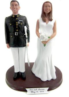 Custom Marine Officer Groom Wedding Cake Topper