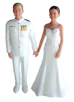 Custom Navy Officer Groom Wedding Cake Topper