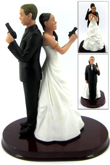 Custom Mr. and Mrs. Smith Short Guns Wedding Cake Toppers Style