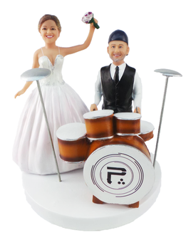 Custom Drumming Groom and Dancing Bride Topper