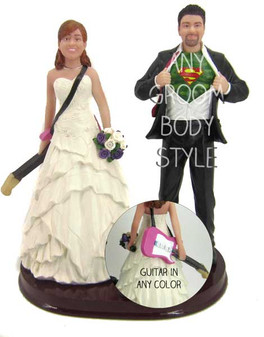 Guitar Player Bride and Groom Cake Topper
