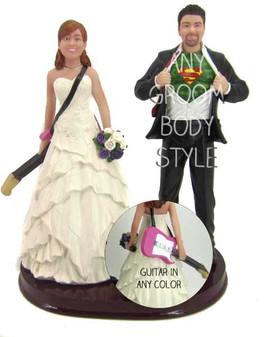Custom Guitar Player Bride and Groom Wedding Cake Topper