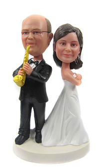 Saxophone Groom Wedding Cake Toppers