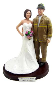 Custom Firefighter and Bride Wedding Cake Topper
