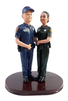 Custom police officer wedding cake toppers