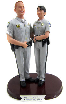 Custom police officer wedding cake toppers