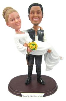 Custom Han Solo and Princess Leia Star Wars Wedding Cake Topper