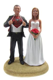Custom Spiderman Groom Wedding Cake Topper with Mix & Match Bride