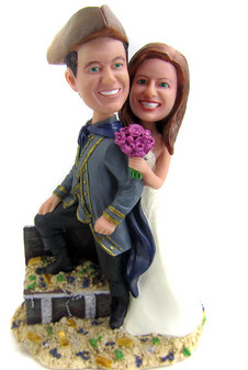 Custom pirate captain wedding cake topper