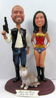 Wonder Woman Bride w/ Mix & Match Groom Cake Topper