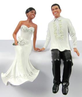 Custom Sitting on Wedding Cake Toppers - Fillipino Groom