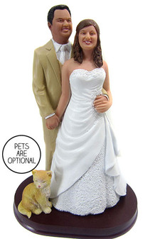 Plus Size Bride Stocky Groom Wedding Cake Topper Style 5
