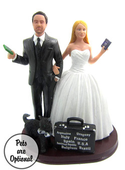 Custom World Traveler Couple Wedding Cake Topper