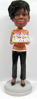 Young Woman's Birthday Cake Topper Sculpted to Look Like Her!