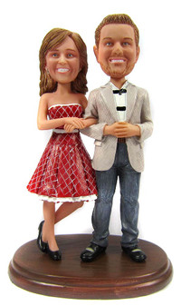 Custom wedding anniversary couple bobbleheads