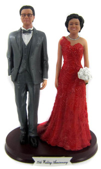 Formal wedding anniversary couple cake toppers