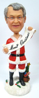 """Male Christmas Bobble Head with """"Merry Christmas!"""" Banner"""