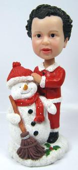 Child Bobble Head figurine with Snowman