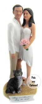 Custom Casual Beach Couple Wedding Cake Topper