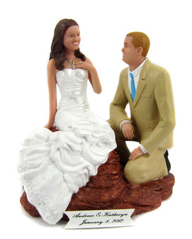 Proposal wedding cake topper with your custom sculpted faces and hair.