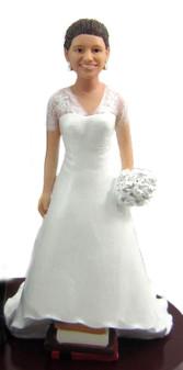 Short Bride on Stack of Books Cake Topper Figurine
