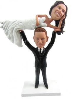 Custom Weightlifter Wedding Cake Topper