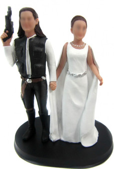 Han Solo and Princess Leia Wedding Cake Toppers
