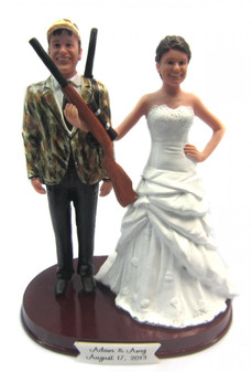 Hunting Bride and Groom with Rifles Wedding Cake Topper