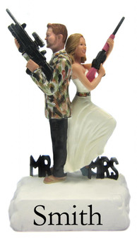 Camouflaged Hunting Mr. and Mrs. Smith Wedding Cake Toppers