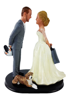 Dirt Bike Rider and shopper Wedding Cake Topper