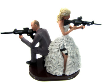 Armed Couple with rifles cake topper