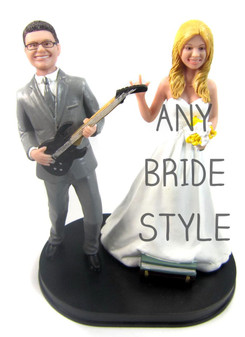 Guitar Playing Groom Wedding Cake Topper