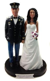 Custom Army Officer Wedding Cake Topper