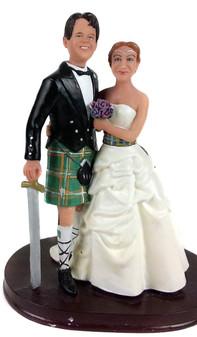Custom Scottish Couple Wedding Cake Topper