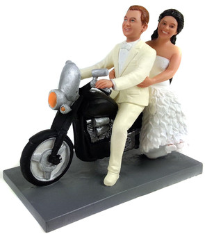 Custom Biker Bride and Groom Wedding Cake Topper