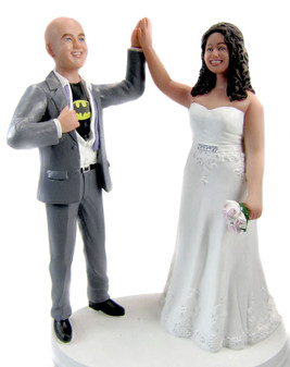 Custom Superhero Groom High Five Full Figured Bride Wedding Cake Topper
