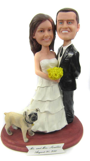 Layered wedding gown cake topper