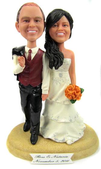 Custom Casual Hand in Hand Wedding Cake Topper
