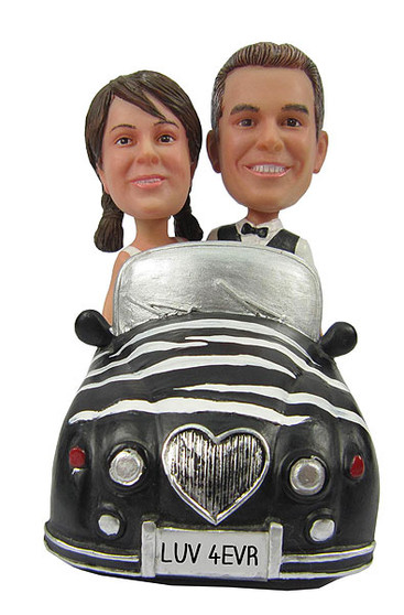 Custom Bride and Groom in Car Wedding Cake Topper