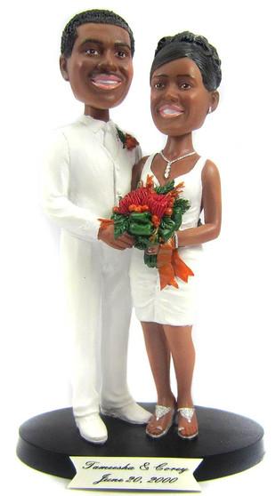 Custom Short Skirt Bride Wedding Cake Topper