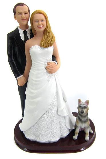 Groom standing behind bride custom wedding cake topper style