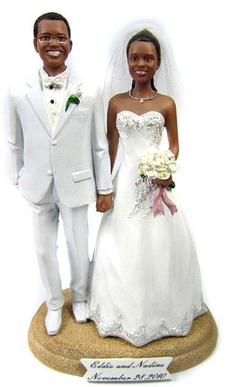 Custom made holding hands cake topper with white suit