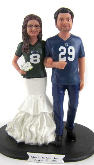 Custom Jersey Couple Wedding Cake Topper