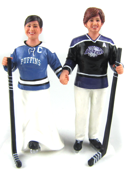 Hockey Player Cake Topper Pittsburgh Puffins and Baltimore Blizzards