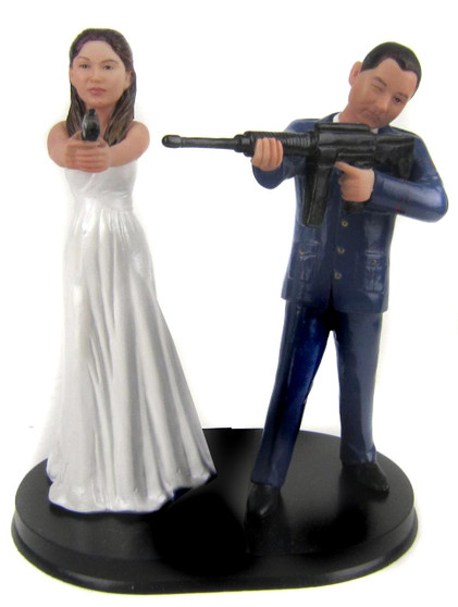 Custom Zombie Hunter Wedding Cake Toppers Style 2