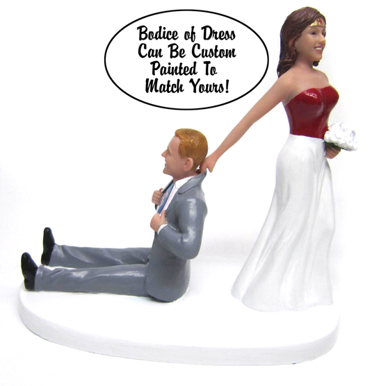 Custom Superhero Bride Dragging Groom Wedding Cake Toppers