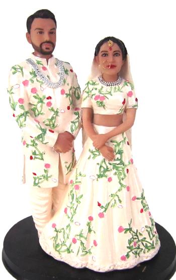 Custom Floral Sari Indian Wedding Cake Topper