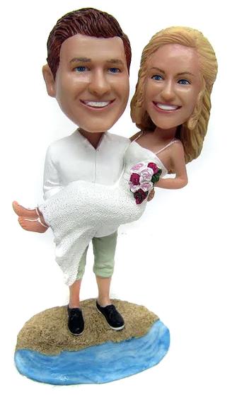 Custom bride and groom wedding Figurines on the beach